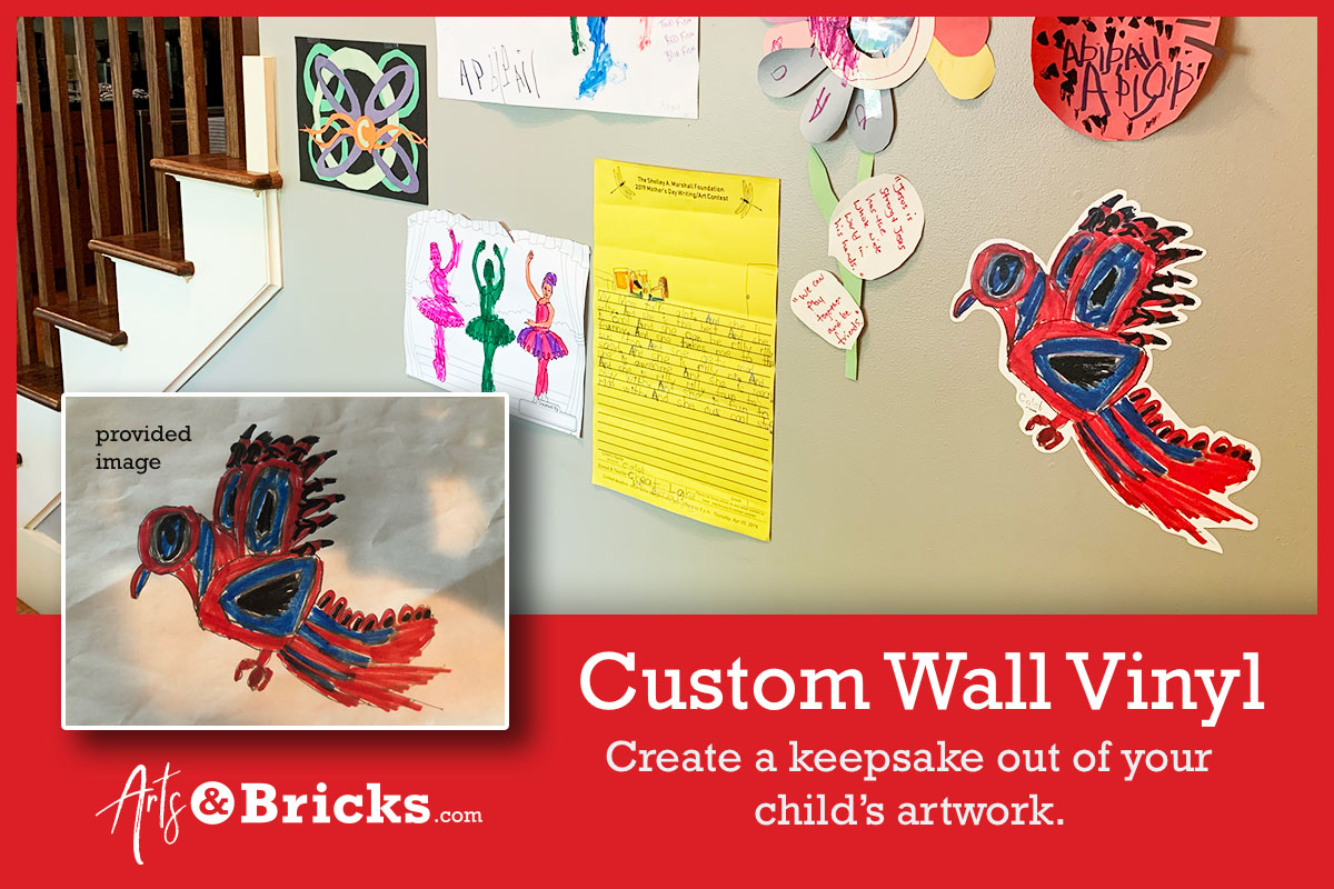 Mondrian Stylized Kids Art: Bird Wall Vinyl