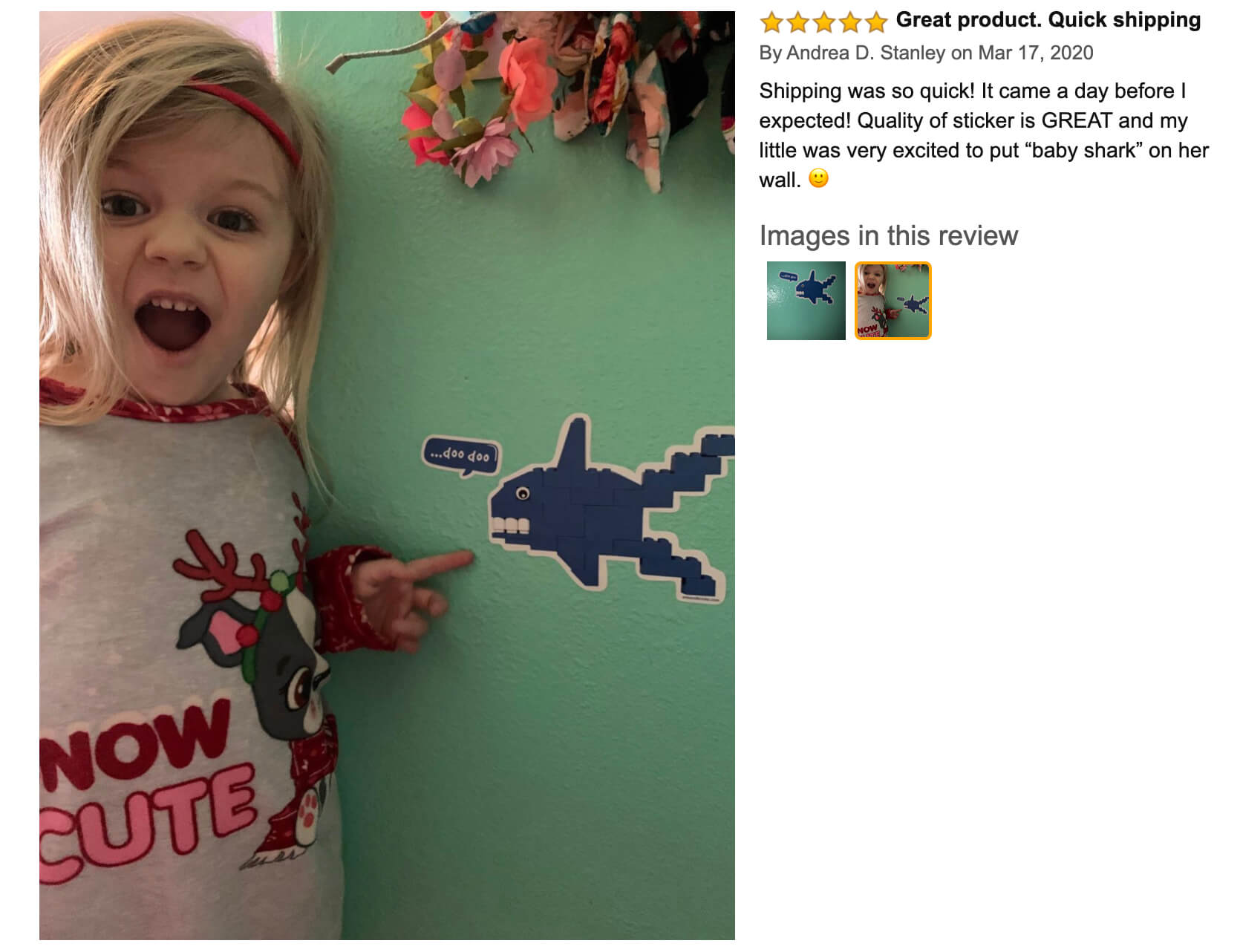 """Arts and Bricks's Brick-Built Shark Wall Sticker review on Amazon: """"Quality of sticker is GREAT and my little was very excited to put """"baby shark"""" on her wall!"""" #legoroom #legodecor #babyshark #legoshark #artsandbricks"""
