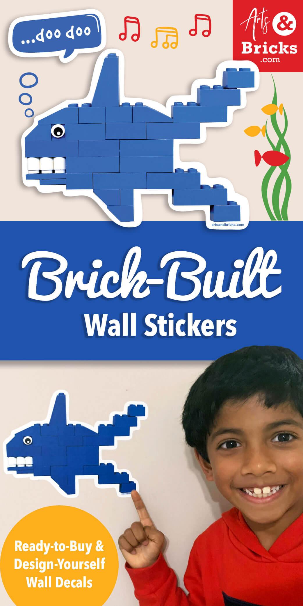 Brick-Built Blue Shark Wall Decal and Sticker