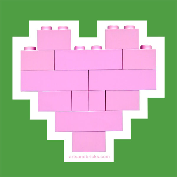 Heart Wall Decal - made from pink building bricks