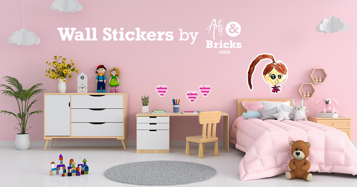 Wall stickers and wall decals made from Lego bricks or kid's artwork