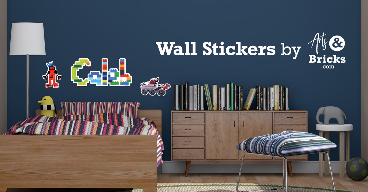 Wall stickers and wall decals made from Lego bricks or kid's artwork for boys' bedrooms