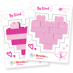 Heart stickers for your walls and windows built from LEGO bricks