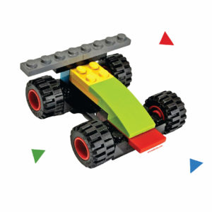 Wall sticker - multicolor car - made from building bricks