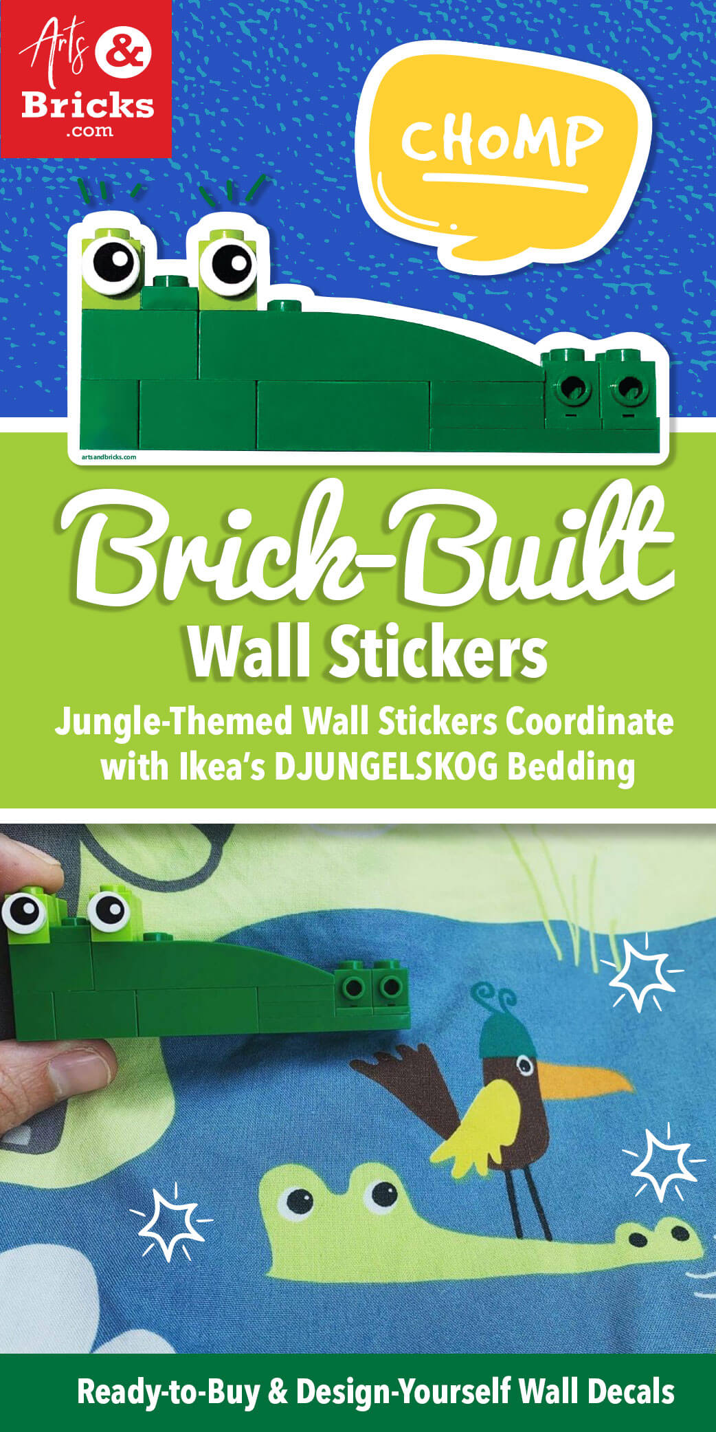 Brick-Built Wall Stickers that match Ikea Djungelskog Bedding Jungle