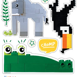 Brick-Built Jungle Animals - Elephant, Crocodile, Alligator, Toucan