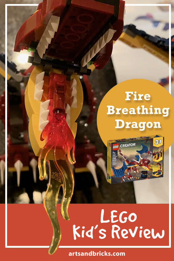 Kid's Lego Review - Fire-Breathing Dragon, 3-in-1 set, Fire Dragon