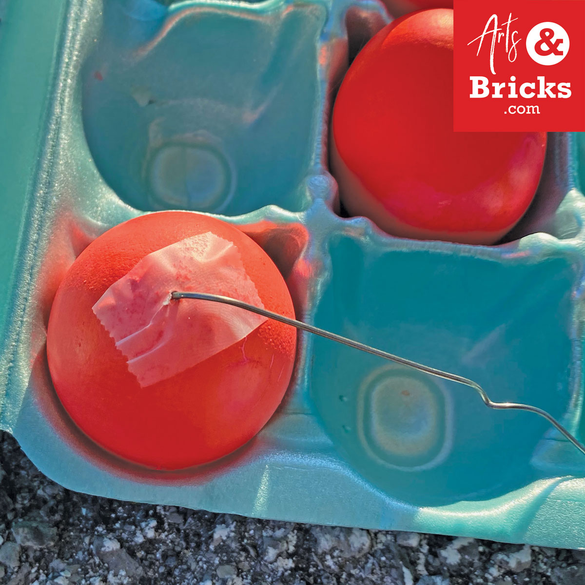 Break up the yolk with a paperclip or toothpick for blown-out eggs.