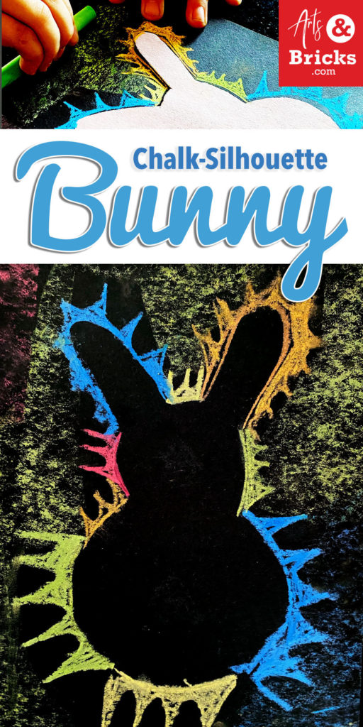 Make a simple chalk silhouette bunny craft for kids.