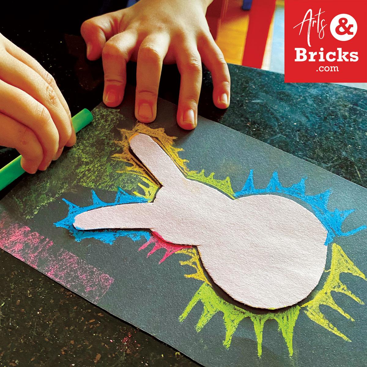 Chalk spring bunny on black paper - kids craft
