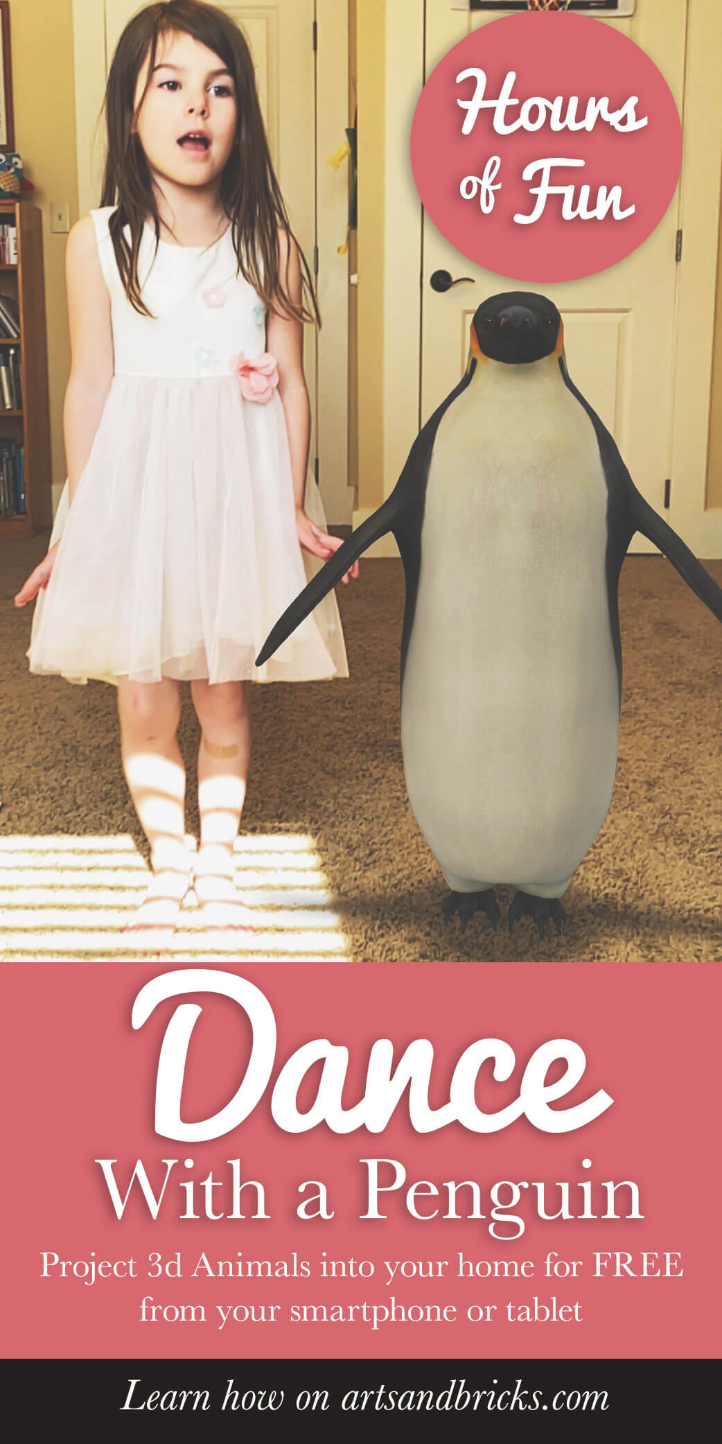 Dance with a Penguin. Learn how to project 3D animals into your home for free from your smartphone or table. Hours of fun! Great activity for a unit about penguins in school, too.