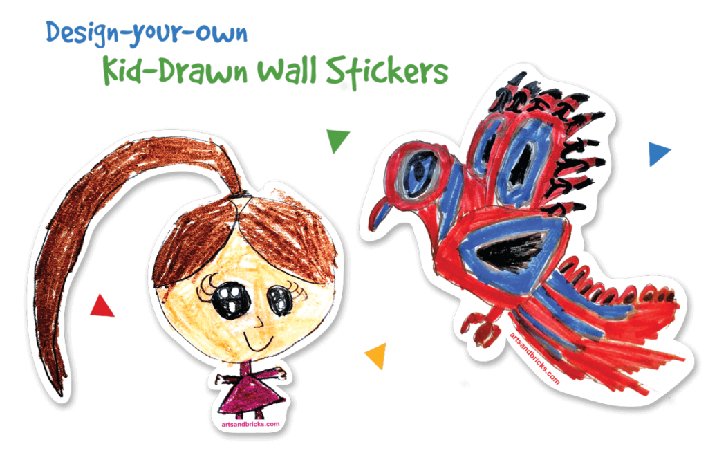Design you own kid drawn wall sticker and wall decals