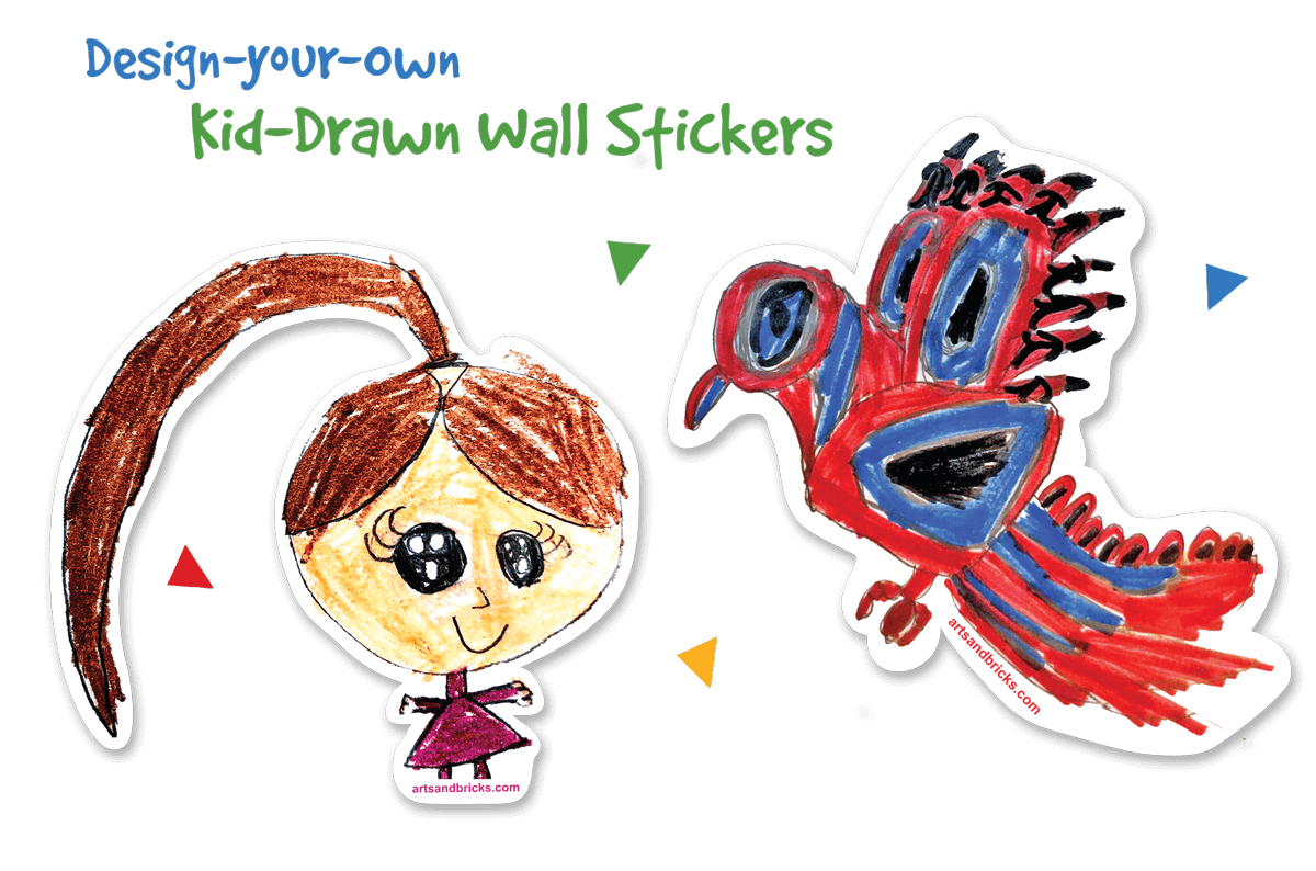 Design your own kid-drawn wall stickers/decals