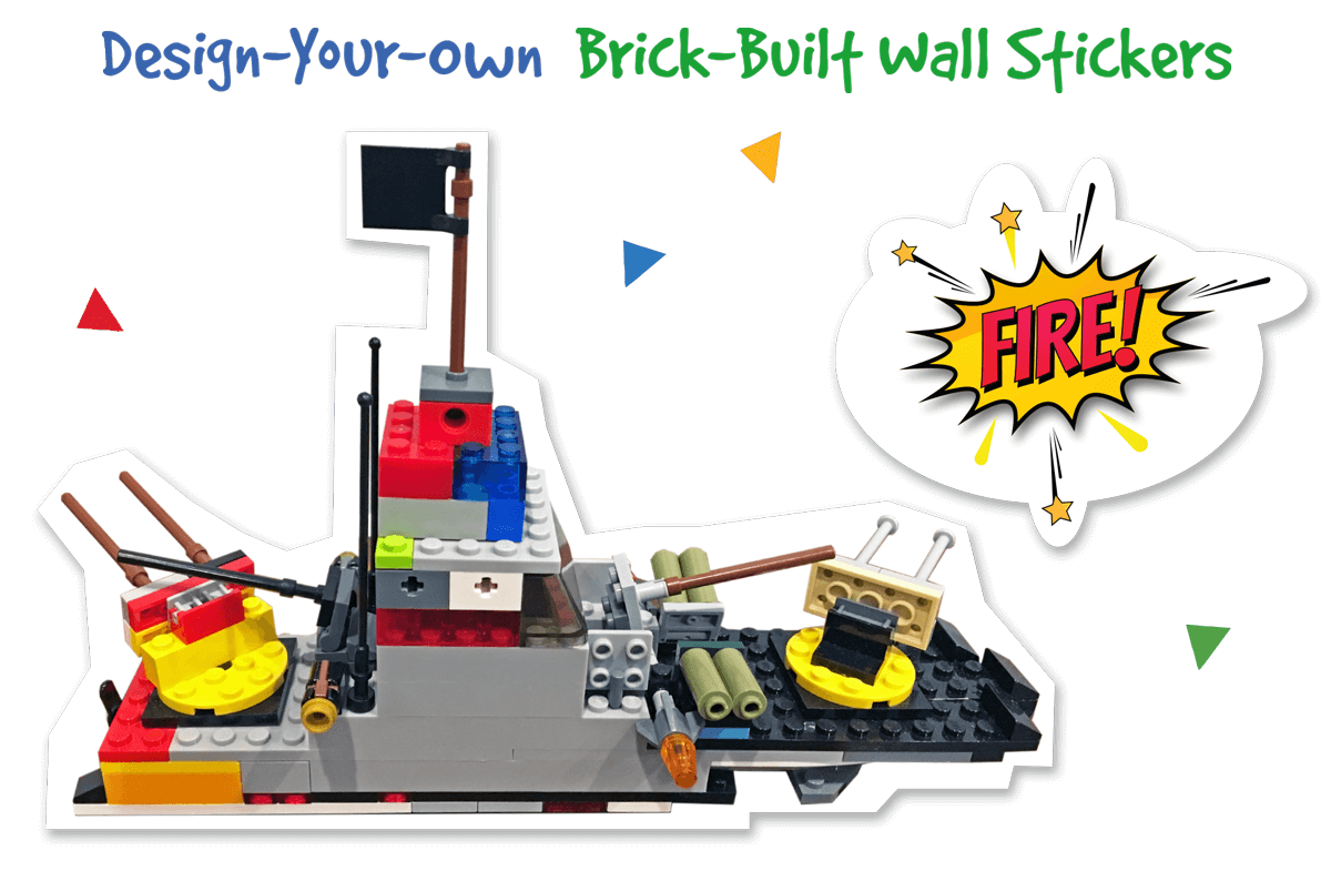 Wall stickers made from your brick-built designs or kid's artwork