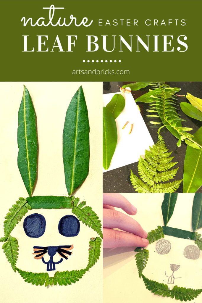 Nature Easter Crafts, Leaf Bunnies