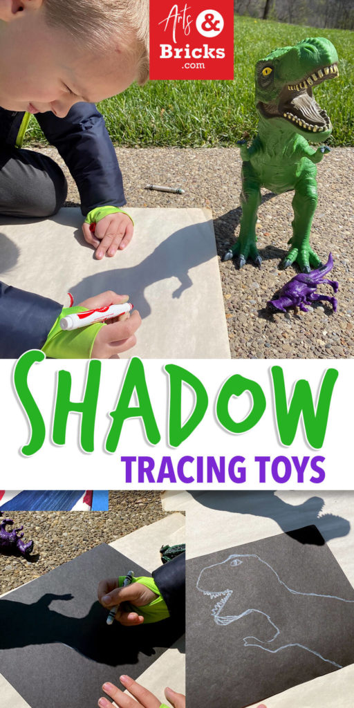 This simple afternoon-sun activity requires only two craft supplies: a white crayon and a piece of black paper, plus toys! We also pulled out a pad of big paper! Get outside, get some sunshine and make art! #outdoorplayforkids #homeschool #art #elementaryart #preschoolart #shadow