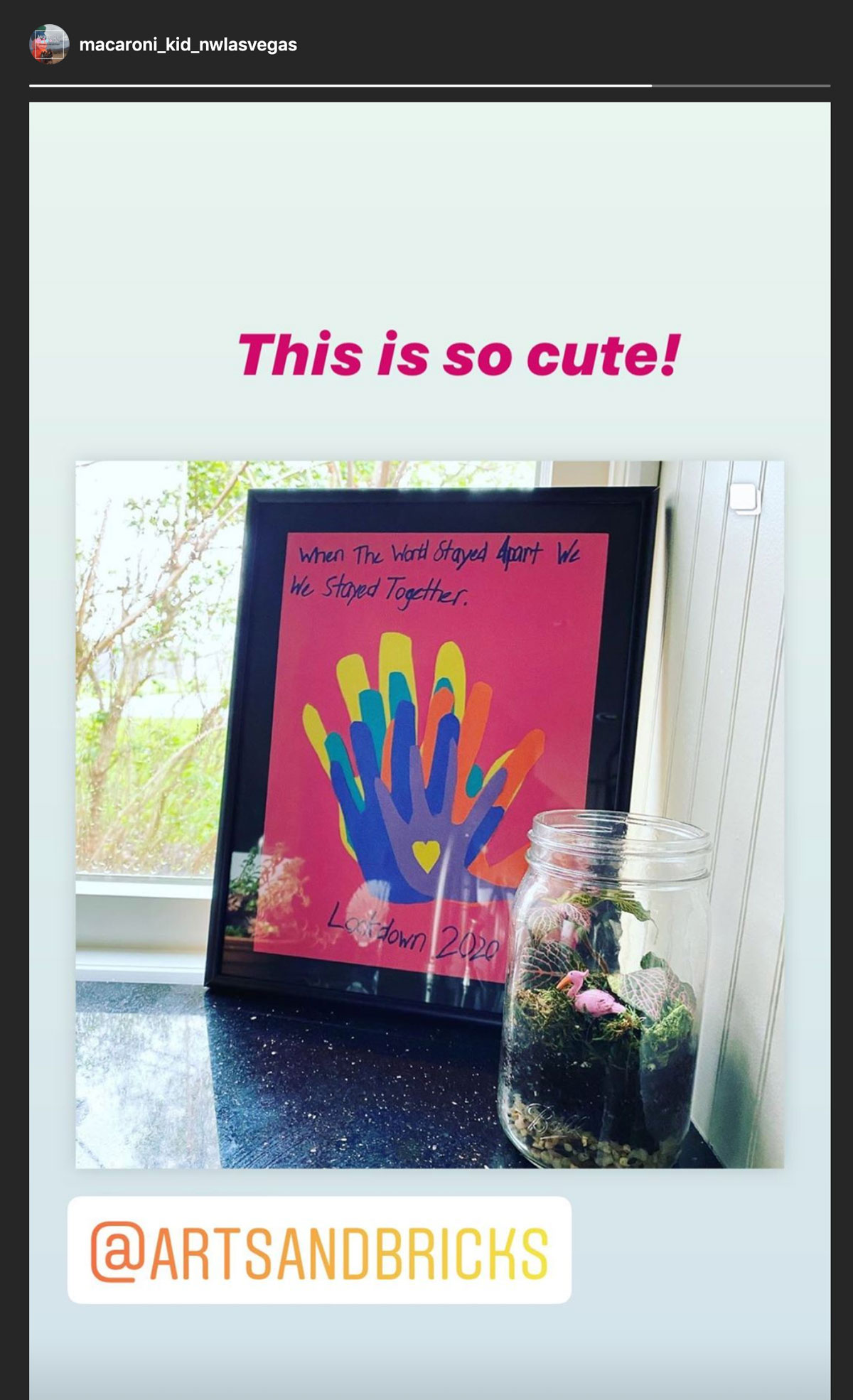 This is so cute! @artsandbricks family lockdown project