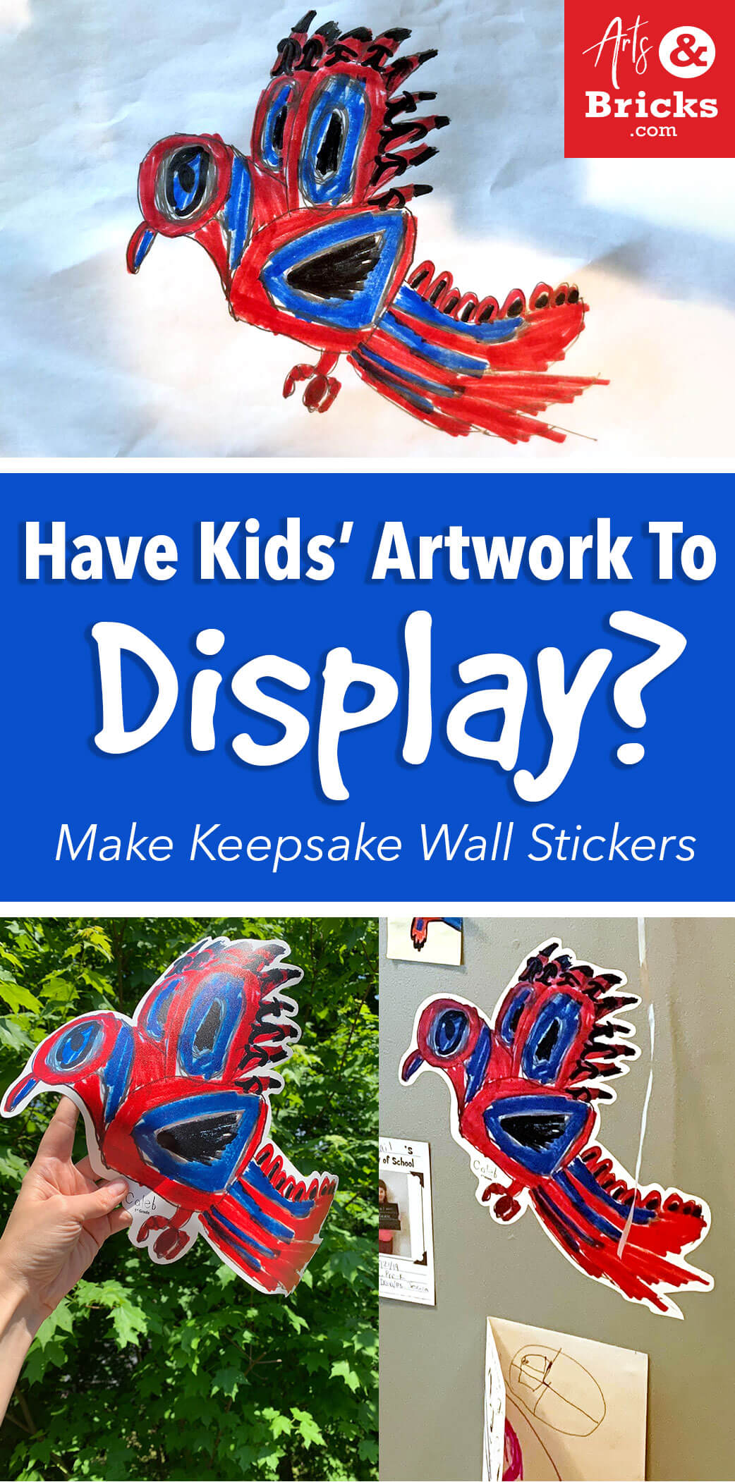 Have kids artwork to display? Make keepsake wall stickers at Arts and Bricks.