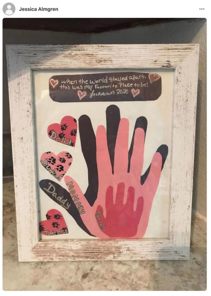 Example of framed Lockdown 2020 family handprint art. #handprints #lockdown #family #covidart #keepsake