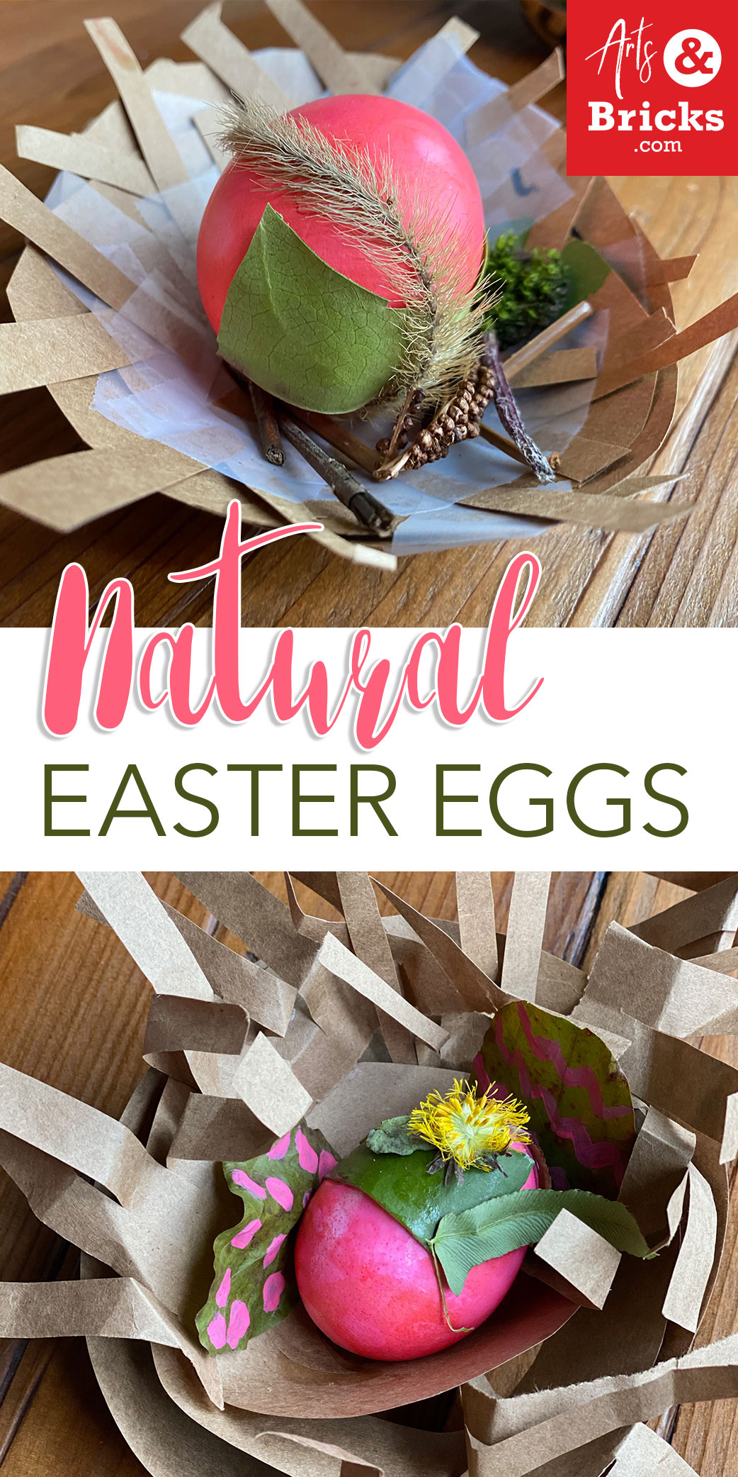 Blown-Out Naturally Decorated Easter Eggs -- dyed Eggs with glued found forest materials in paper bag nests.