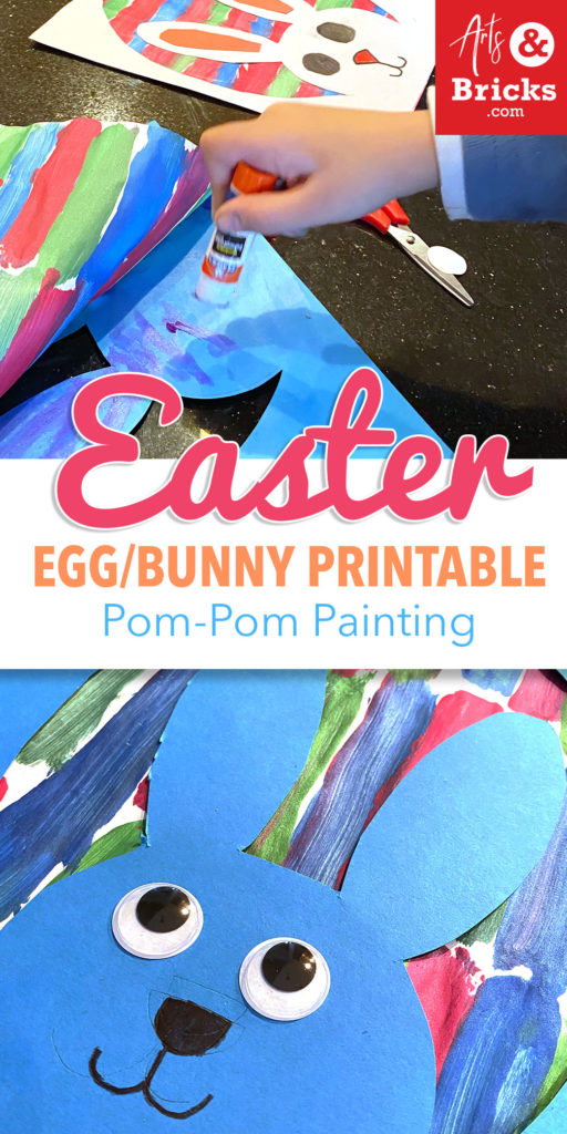 Make an Easter Craft for Kids using Pom-Pom Brushes and our Free Printable.