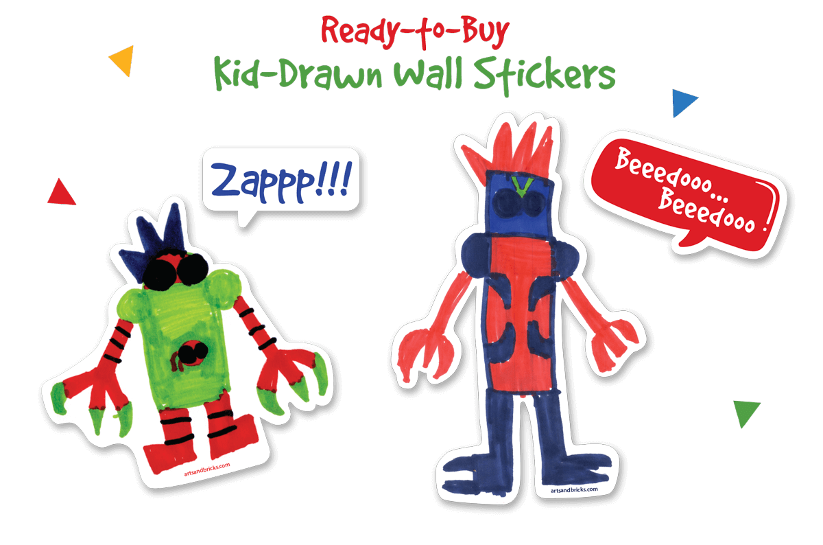 Kid-Drawn Wall stickers and Decals, Robots