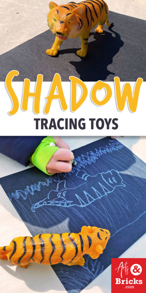 This simple afternoon-sun activity requires only two craft supplies: a white crayon and a piece of black paper, plus toys!