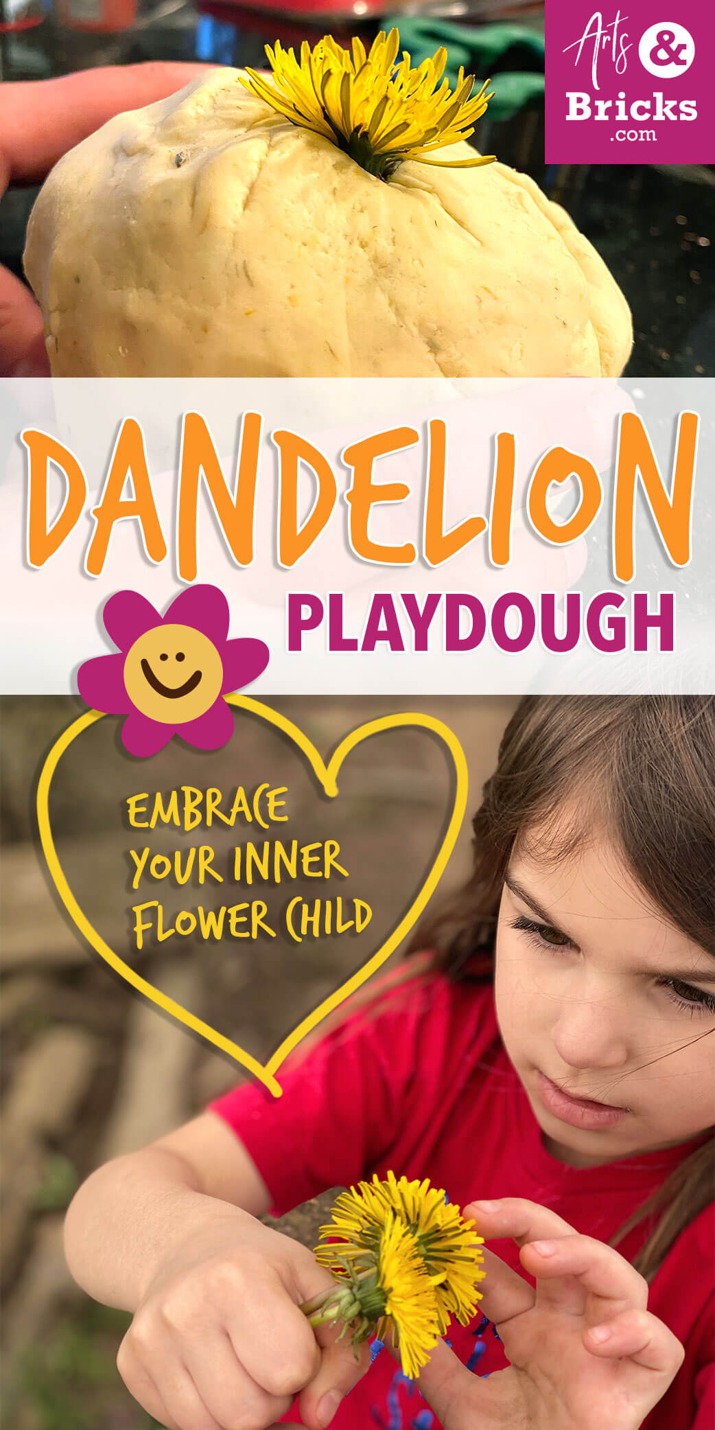 Embrace your inner flower child with this simple Dandelion Playdough recipe. No cook and doesn't require Cream of Tartar. #playdoughrecipe #playdough #dandelion #flower #flowercrafts #forkids #flowerplaydough #nocook #nocreamoftartar #sensoryplay #homemade