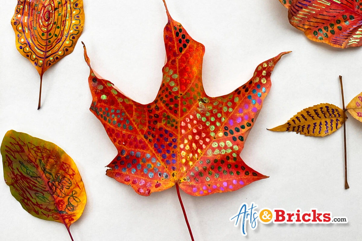 Beautiful Fall leaves with brilliant colored patterns using gel pens