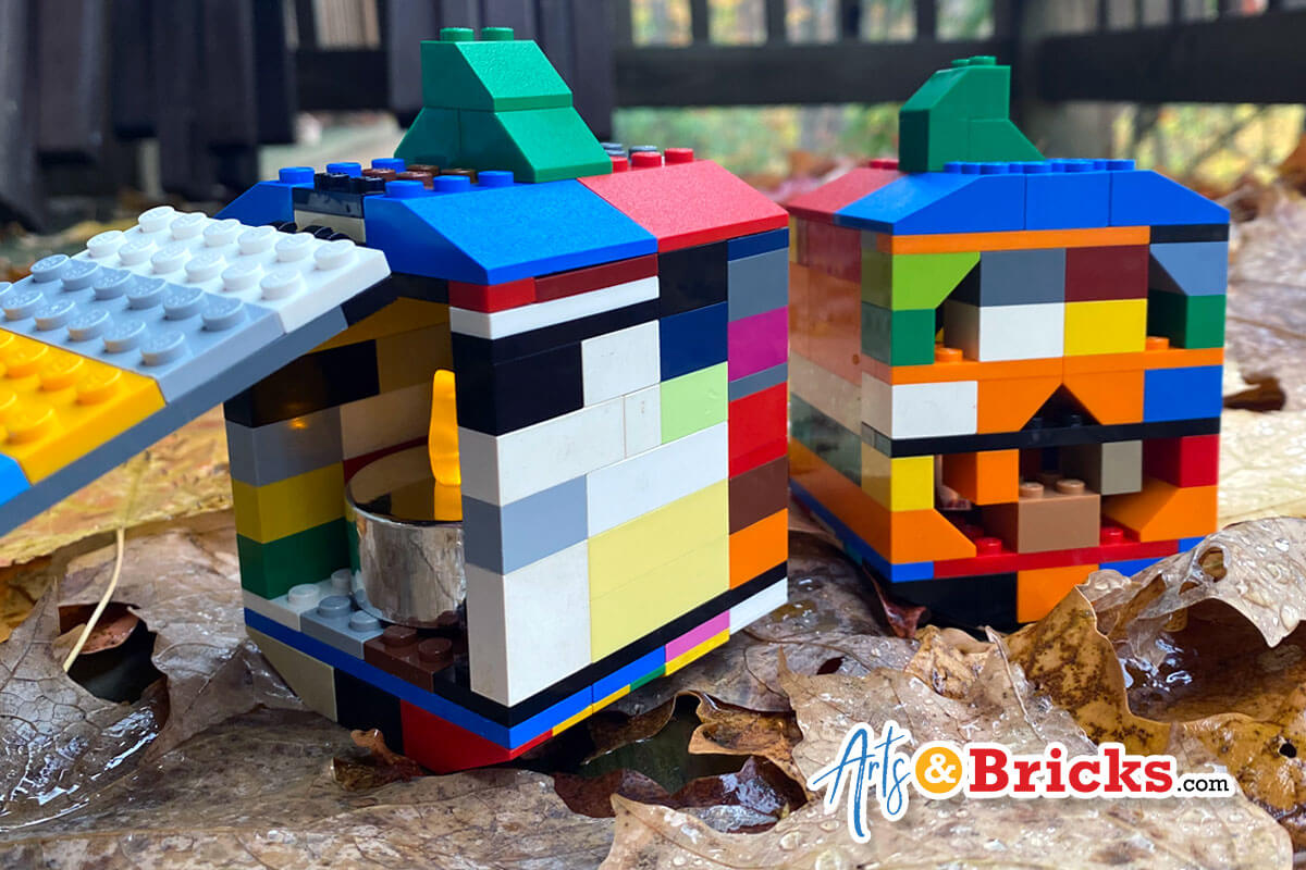 Build a pumpkin Jack O'Lantern from Lego Bricks