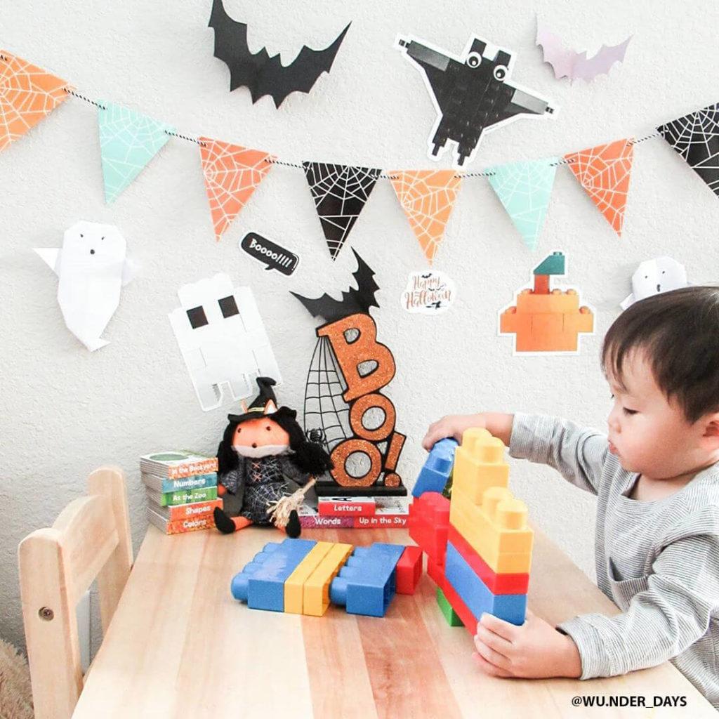 Fall Halloween Wall Decals - Lego brick themed bat, ghost and pumpkin