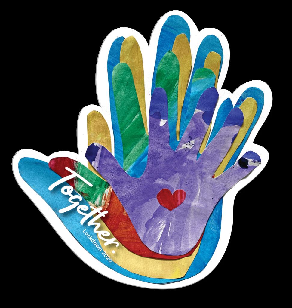 Family TOGETHER handprint keepsake window cling