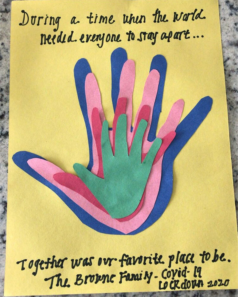 Example of Lockdown 2020 family handprint art made with colorful construction paper. Get more inspiration, too! #handprints #lockdown #family #covidart #keepsake