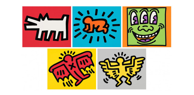 Keith Haring's iconic work became famous in the 1980s. Keith created his own visual vocabulary --- specifically, symbols --- that he used repetitively in his work. For example: The Barking Dog, The Radiant Baby, Three-Eyed Monster, The Flying Devil, and The Angel. The Dancer and the SpaceShip are also very well known. Get inspired by our kid-friendly Keith Haring art project.