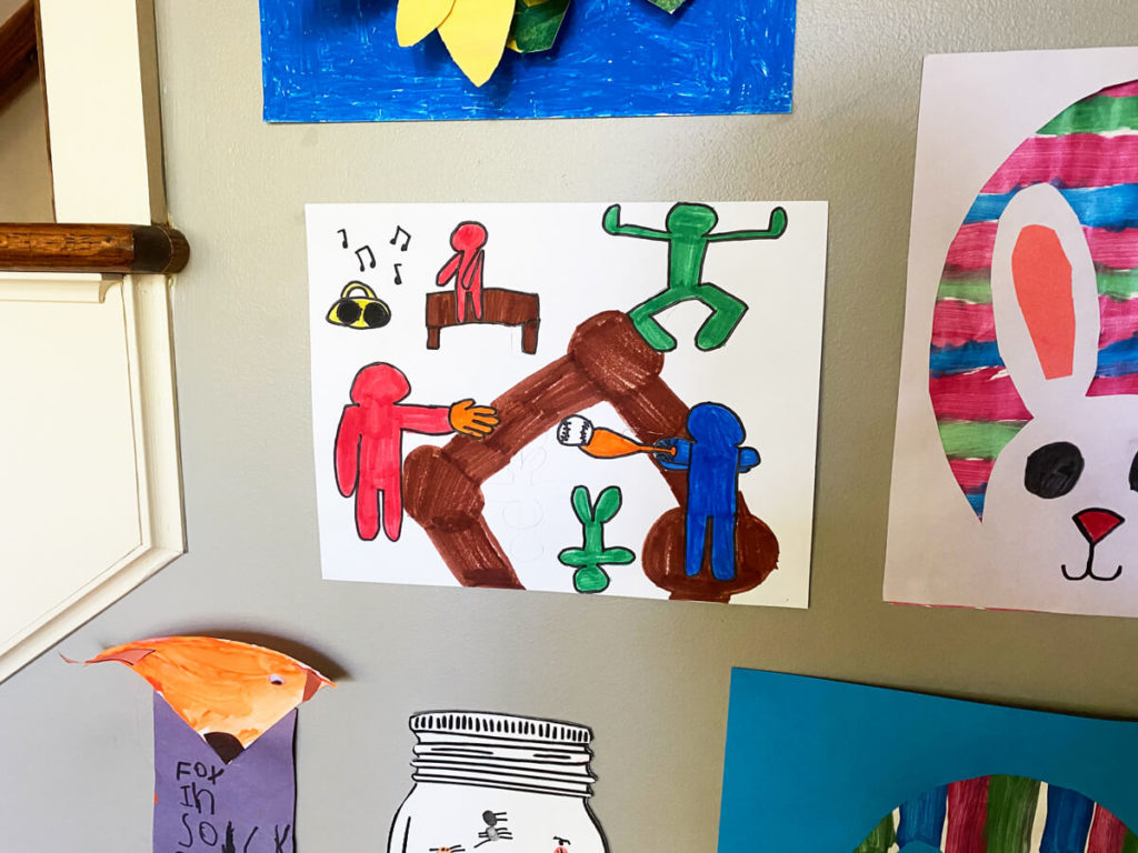 2nd Grade Kid's Artwork - teaching characteristics of Keith Haring's iconic faceless people artwork. Baseball playing cartoon figures.
