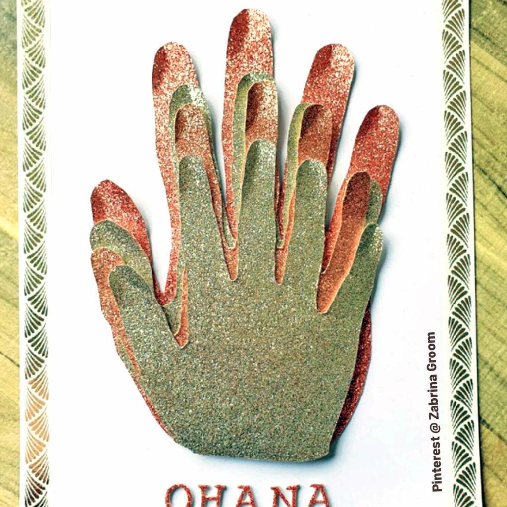 Glittery paper family handprint craft. Ohana. Pinterest by Zabrina Groom.