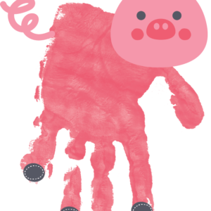Pig Handprint - Personalized Gift for Kids - Window Cling Handprint Art