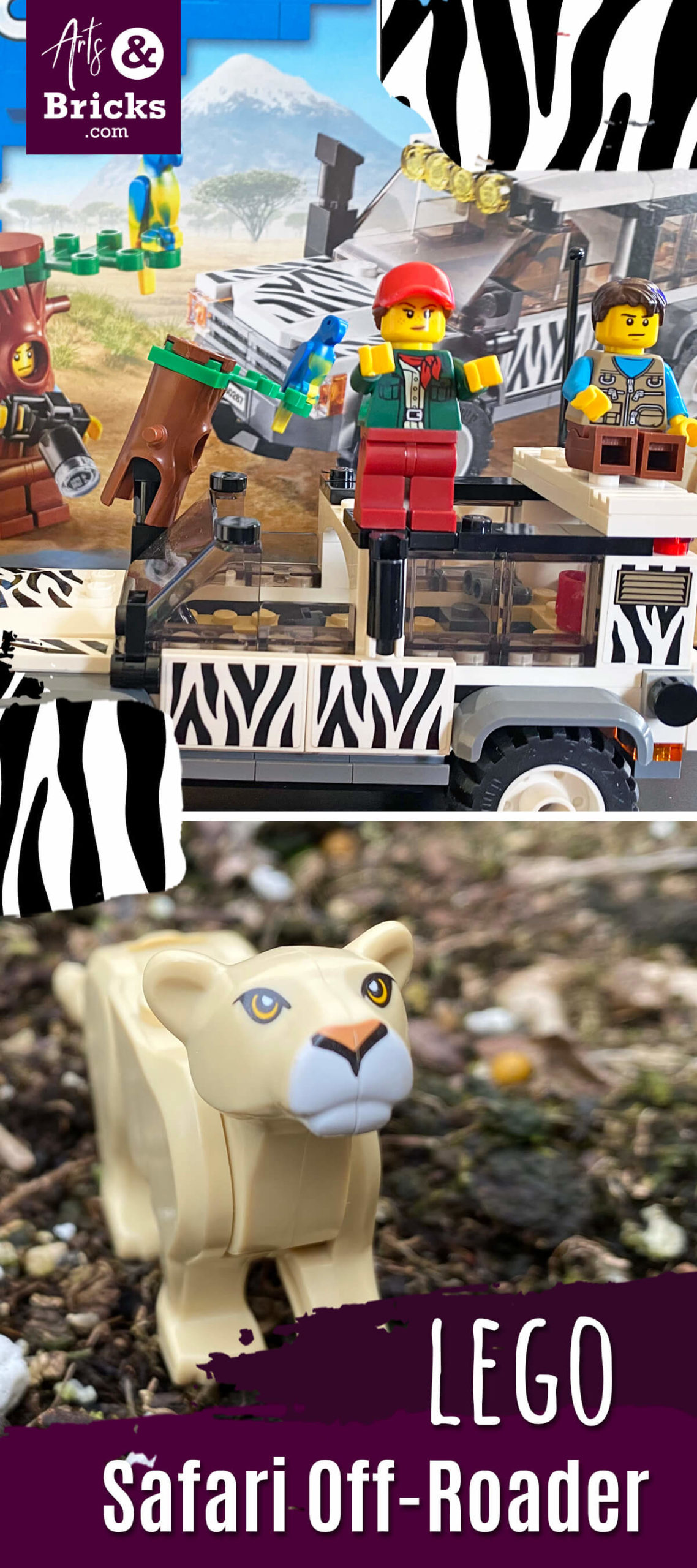 Have a WILD CAT obsessed child? Then this Safari Off-Roader LEGO set is going to be a hit. Learn why in our recent kid-review of this LEGO set: zebra prints, lioness, parrot, camera, double-sided faces and more! #lego #legoset #safari #lion #lionness