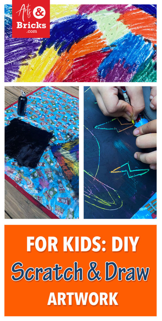 Spend the afternoon crafting with your littles making DIY Scratch and Draw Artwork. This simple project uses oil pastels, black paint, and card stock to make rainbow drawing fun. Watch the video and learn a few tips. #diy #kids #crafts
