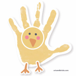 Chick handprint window cling - chick handprint art project