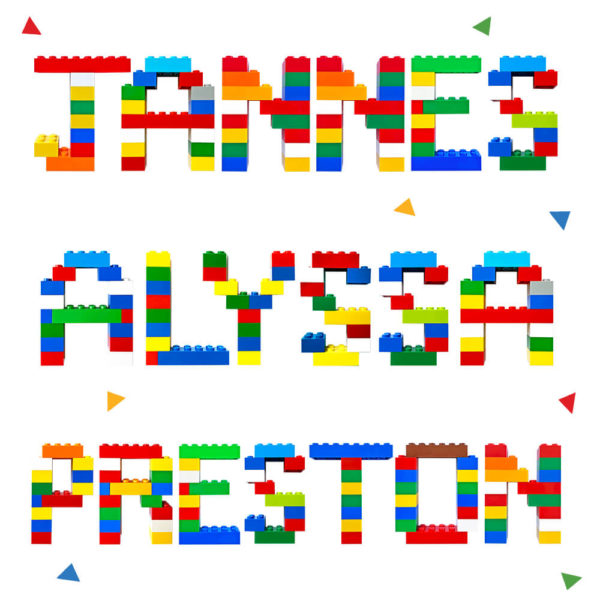 Personalized Wall Decor: Names built from LEGO building bricks